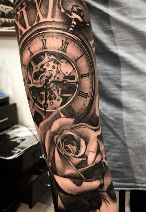 clock  rose tattoo ideas  pinterest clock tattoos clock  roses tattoo