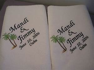 2 wedding beachtowels for bride and groom towels wedding gift for Embroidered towels for wedding gift