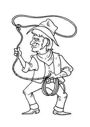 cowboy mit lasso   ausmalbilder ausmalen ausdrucken