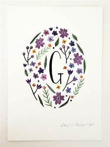 monogram letter g floral art print by ameliaherbertson With floral monogram letter