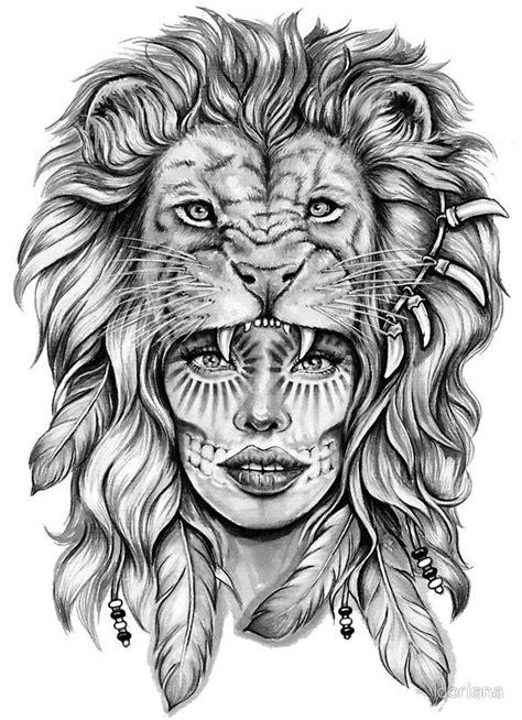 'Girl with Lion Head' Sticker by doriana   tattoo   Tattoos, Lion tattoo, Girl face tattoo