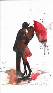 Love Paris Romance Kiss Red Umbrella Original Watercolor ...