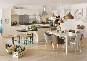 awesome salle a manger beige et blanc ideas lalawgroup With deco cuisine avec table salle a manger gigogne