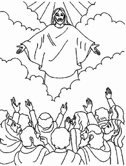 Coloring Ascension Kleurplaten Jezus Hemelvaart Knutselen Bijbel