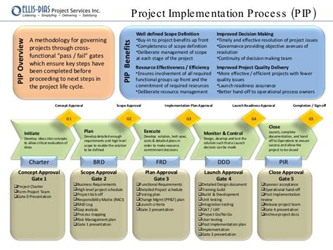 project implementation process pip quick reference