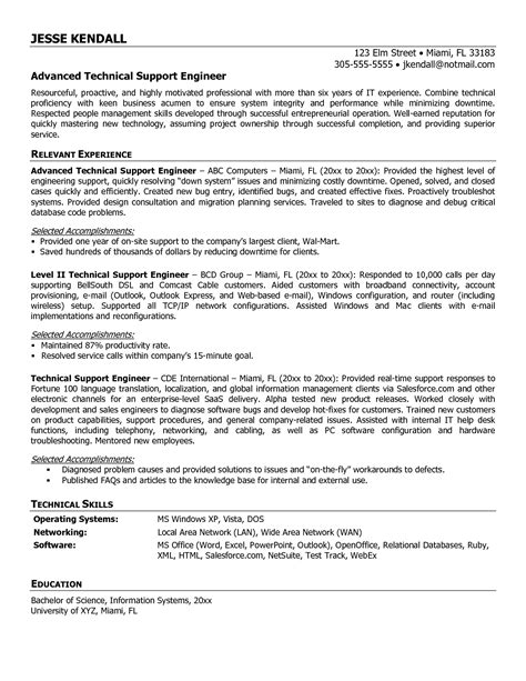 computer technical support resume sle desktop support engineer resume sales support lewesmr