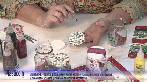 artesanias decoupage sobre vidrio empleando plasticola
