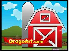 How to draw a barn, step by step YouTube