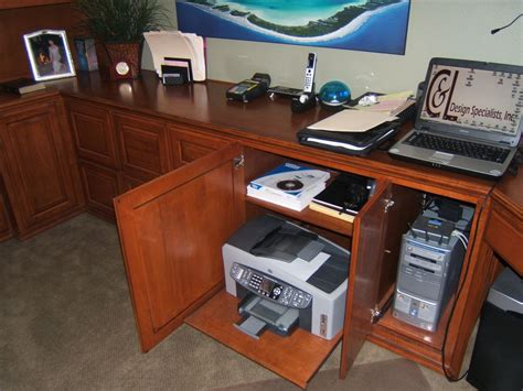 desk with printer cabinet built in home office with computer tower and printer
