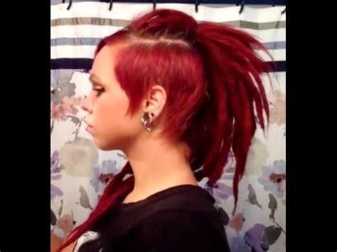 dreadlock hairstyle faux mohawk red dreadssidecut