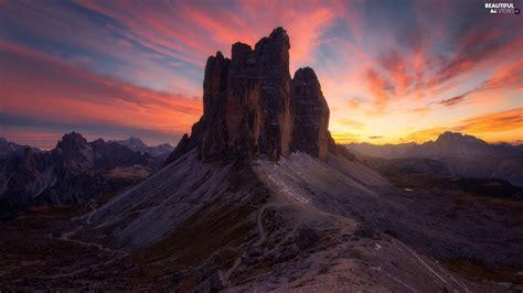 Mountains Italy Tre Cime Di Lavaredo Great Sunsets