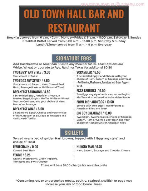 menu   town hall restaurant townsend