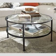 Tanner Round Coffee Table  Bronze Finish  Pottery Barn