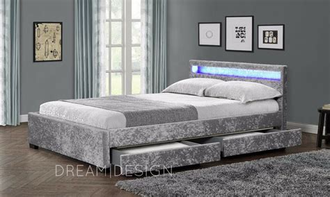 drawer storage bed crushed velvet  faux leather bed