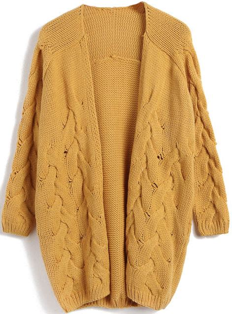 yellow cardigan sweater yellow sleeve cable knit cardigan sweater sheinside com