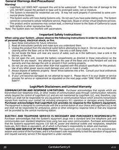 Logicmark Cs40914 Caretaker Sentry Base Unit User Manual