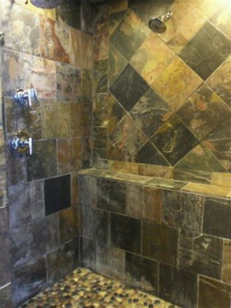 Slate Tile Bathroom Designs by Slate Tile Shower For The Home Slate Shower Bathroom