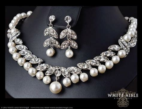 Pearl Bridal Necklace, Crystal Pearl Necklace, Vintage Style Necklace, Pearl Bridal Earrings Christian Jewelry For Sale Men's Gift Box Torch Setup Jewellery Set Images Hd Toy Toronto Luxury White Gold