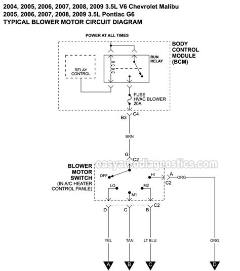blower motor circuit diagram    chevy malibu