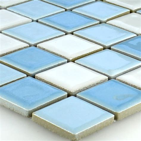 ceramic mosaic tiles blue white 25x25x5mm www mosafil co uk