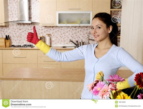 Beautiful Attractive Women Cleaning The House Royalty Free