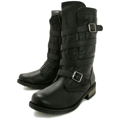 biker boots for buy foxxy flat calf biker boots black leather style