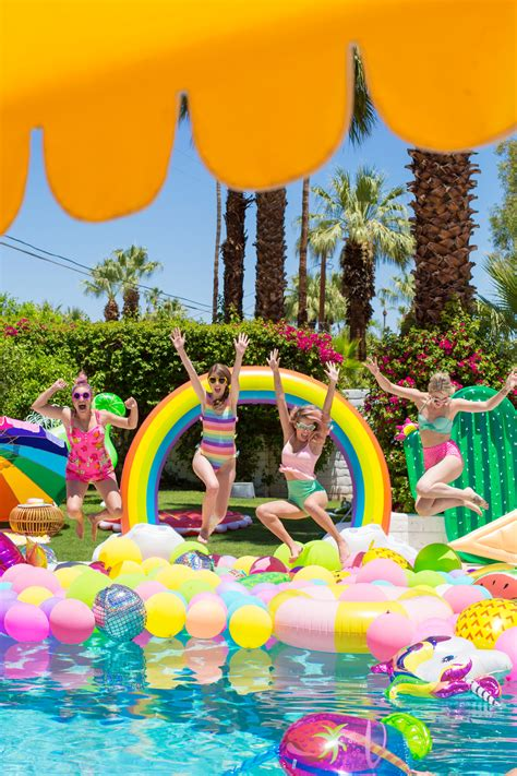 An Epic Rainbow Balloon Pool Party  Studio Diy