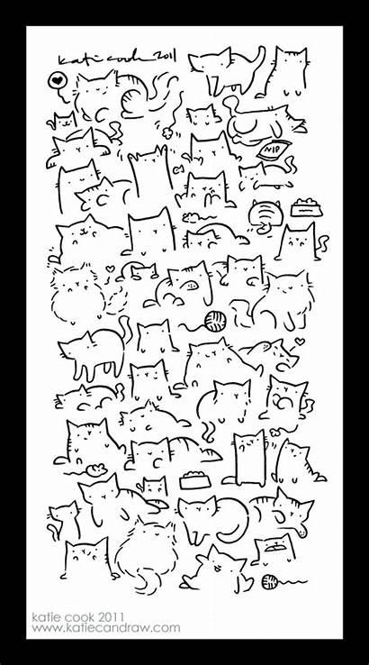 Cats Draw Cat Lots Doodle Katie Katiecandraw