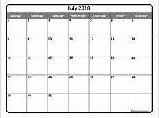 July 2018 calendar * July 2018 calendar printable