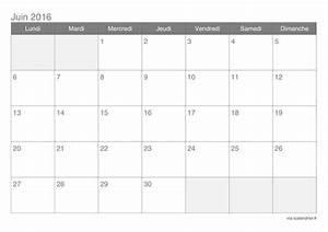 Calendrier juin 2016 à imprimer iCalendrier
