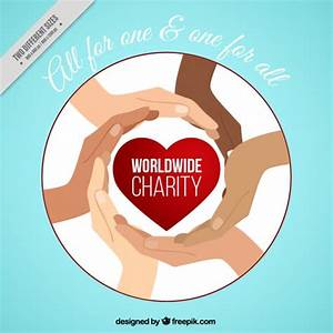 Hands with a red heart of charity background Vector | Free ...