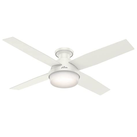 low profile white ceiling fan hunter dempsey 52 in low profile led indoor fresh white