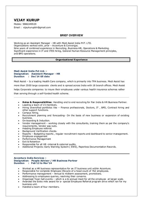 Talent Acquisition Specialist Resume by Resume Vijay Kurup Manager Talent Acquisition