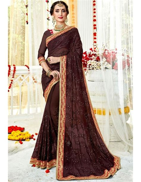 Did you scroll all this way to get facts about contrast blouse? Coffee Brown Embroidered Georgette Saree | Georgette sarees, Party wear sarees, Partywear