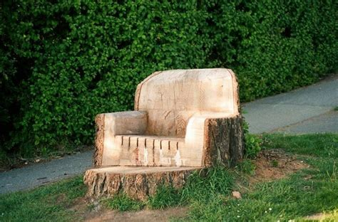 tree trunk chair garden
