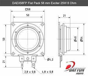 Dayton Audio Daex58fp Flat Pack 58mm Exciter 25w 8 Ohm