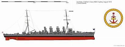 Hmas Shipbucket Sydney Drawings 1914 Cruiser 1918