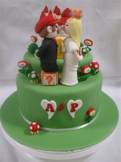 Super Mario Theme Green Wedding Cake In 2 Tiers