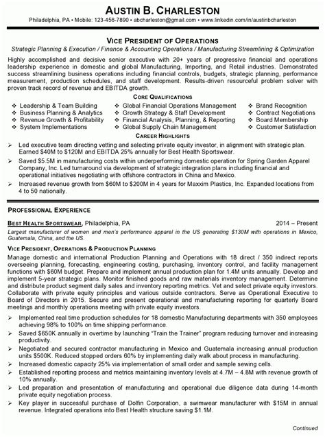 Vp Operations Manufacturing Resume by Resume Sle 4 Vice President Of Operations Career