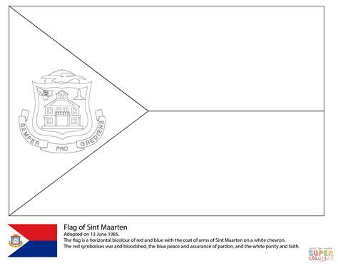 Flag Of Saint Maarten Coloring Page Free Printable