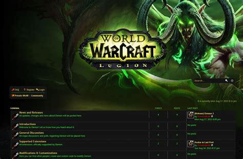 Trintycore Template by Demon Free Phpbb3 World Of Warcraft Style