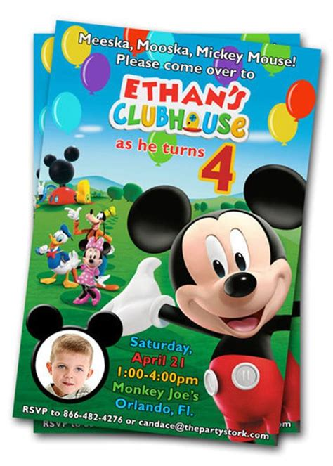 mickey mouse clubhouse birthday invitations printable mickey