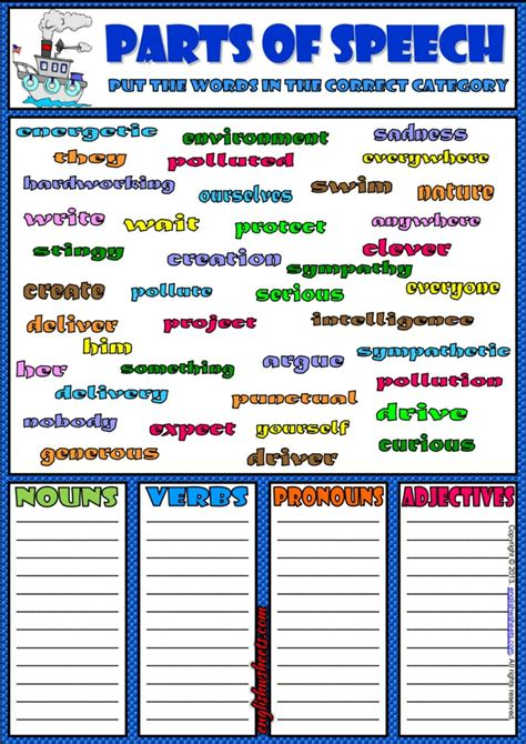 parts of speech classifying esl exercise worksheet esl 2