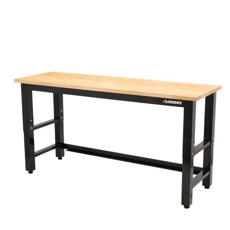 husky  ft solid wood top workbench gs   home