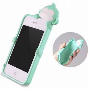 Cute Mint Green Monkey Silicone case cover for iphone 4 4S