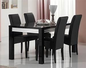 Salle A Manger Noir : table de repas silver laque noire noir l 160 x h 76 x p 90 ~ Premium-room.com Idées de Décoration