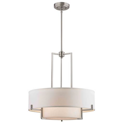 pendant drum light modern drum pendant light with white glass in satin nickel