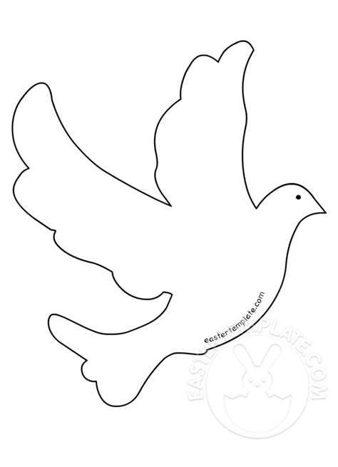 Flying Dove Bird Shape  Easter Template