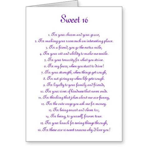 Sweet 16 Poems And Quotes Quotesgram