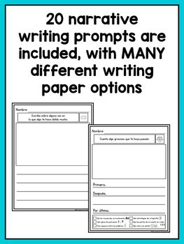 spanish writing prompts  kindergarten narrative writing tpt